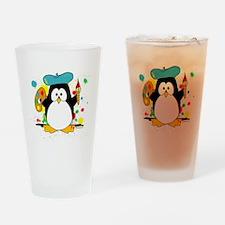 Artistic Penguin Drinking Glass