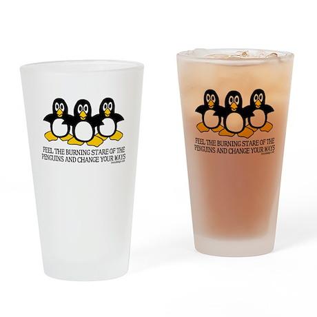 Burning Stare Penguins Drinking Glass