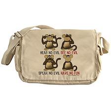 No Evil Fun Monkeys Messenger Bag