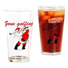 Santa's Gone Golfing Drinking Glass