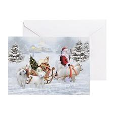 Great Pyrenees And Santa, Christmas Greeting Cards
