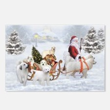 Great Pyrenees And Santa,postcards (package Of 8)