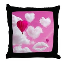 Heart Clouds and Balloon Throw Pillow