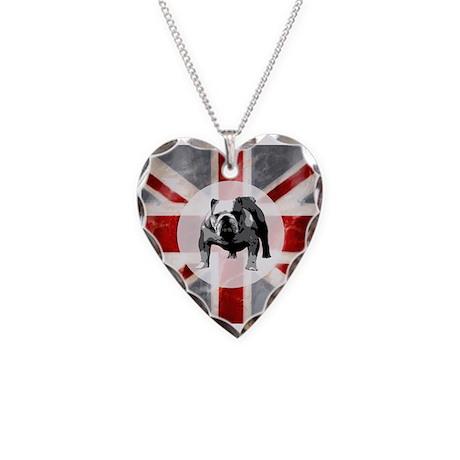 Union Jack and Bulldog Necklace Heart Charm