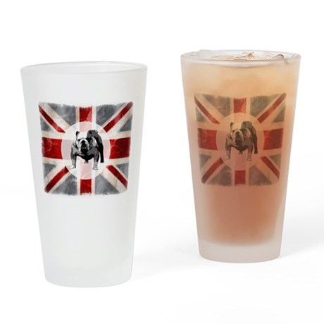 Union Jack and Bulldog Drinking Glass
