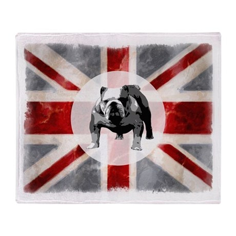 Union Jack and Bulldog Throw Blanket