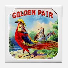 Golden Pheasants Cigar Label Tile Coaster