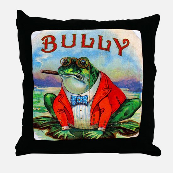 Bully Bullfrog Cigar Label Throw Pillow
