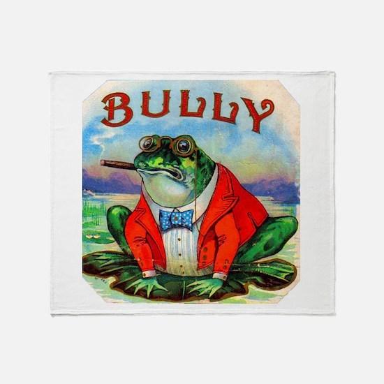 Bully Bullfrog Cigar Label Throw Blanket