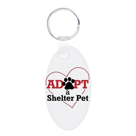 Adopt a Shelter Pet Aluminum Oval Keychain