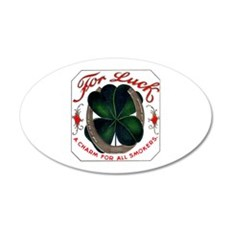 For Luck Cigar Label 22x14 Oval Wall Peel