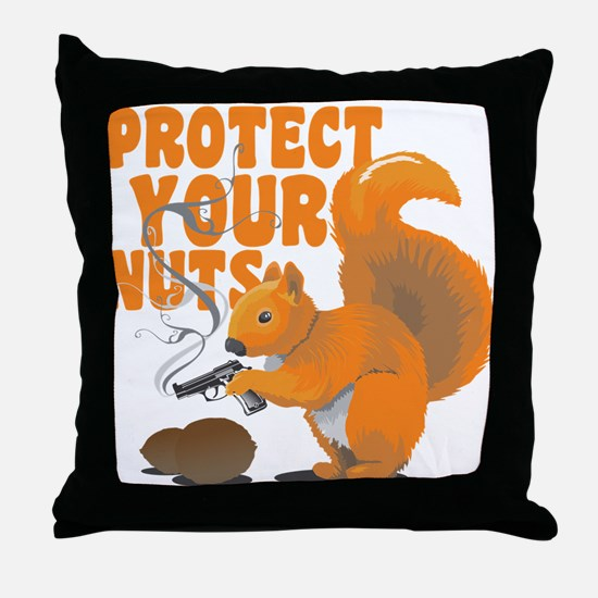 Protect Your Nuts Throw Pillow