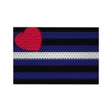 DIMPLE LOOK LEATHER PRIDE COLORS Rectangle Magnet