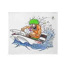 Whaler - Rat Fink Style Throw Blanket