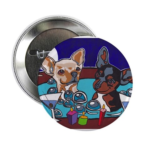 """Chihuahua Hot Tub 2.25"""" Button"""