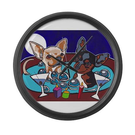 Chihuahua Hot Tub Large Wall Clock