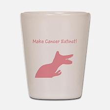 Pink Dinosaur Make Cancer Extinct Shot Glass