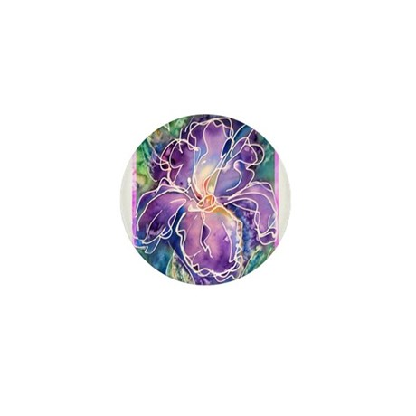 Iris! Purple flower, art! Mini Button