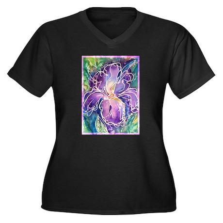 Iris! Purple flower, art! Women's Plus Size V-Neck