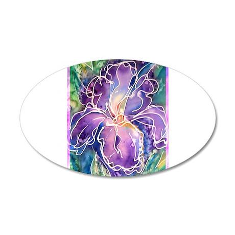 Iris! Purple flower, art! 35x21 Oval Wall Decal