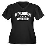 Wisconsin Est. 1848 Women's Plus Size V-Neck Dark