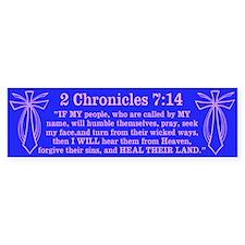 2 Chr 7:14 Cross Fish - Bumper Sticker
