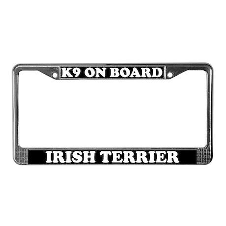 K9 On Board Irish Terrier License Plate Frame