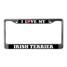 I Love My Irish Terrier License Plate Frame