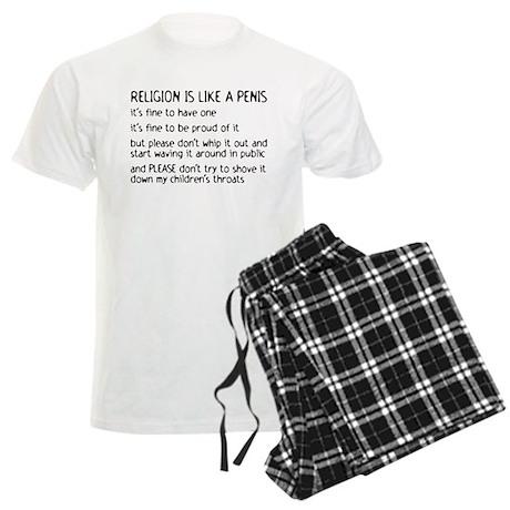 Religion is like a penis Men's Light Pajamas