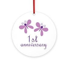 1st Anniversary (Wedding) Ornament (Round)
