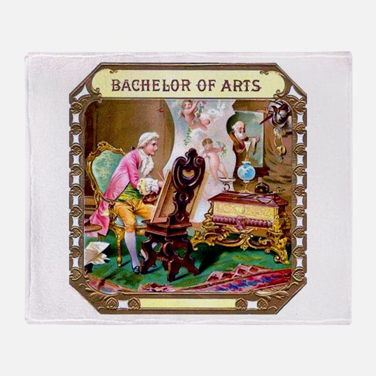 Bachelor of Arts Cigar Label Throw Blanket