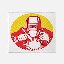 welder welding worker Throw Blanket
