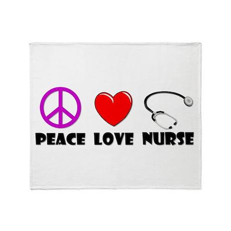 Peace Love Nurse Throw Blanket