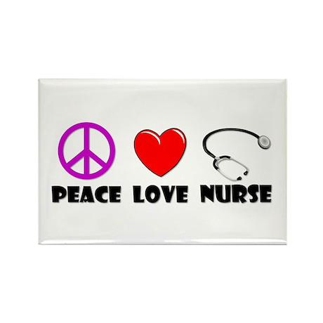 Peace Love Nurse Rectangle Magnet