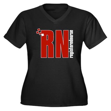 RN / Nurse Women's Plus Size V-Neck Dark T-Shirt