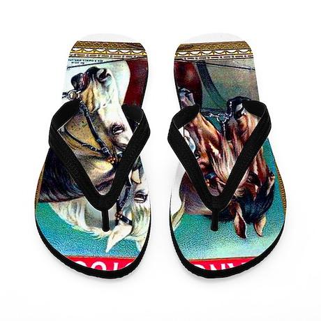 Horses Cigar Label Flip Flops