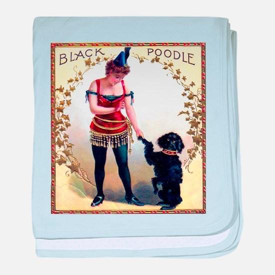 Black Poodle Cigar Label baby blanket