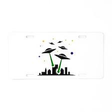 UFO Attack Aluminum License Plate
