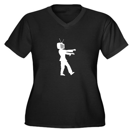 TV Zombie Women's Plus Size V-Neck Dark T-Shirt