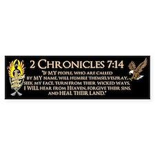 2 Chr 7:14 Gold Cross - Bumper Sticker
