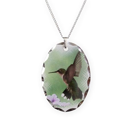 Hummingbird Necklace Oval Charm