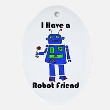 Robot Friend Ornament (Oval)