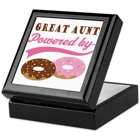 Great Aunt Powered By Donuts Keepsake Box