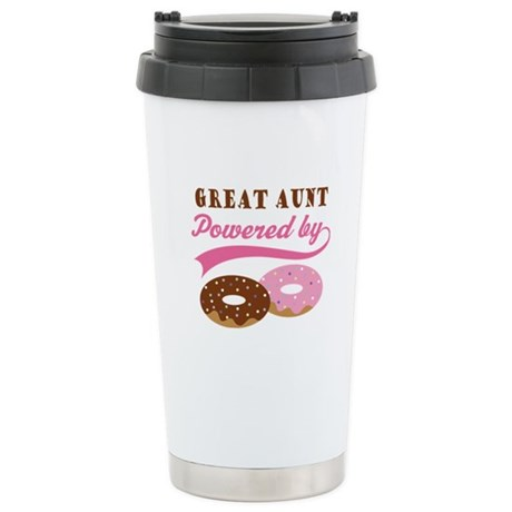Great Aunt Powered By Donuts Stainless Steel Trave