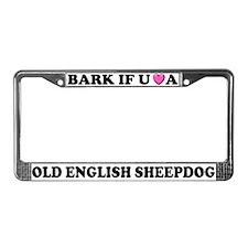 Bark Love Old English Sheepdog License Plate Frame