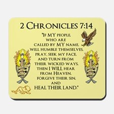 2 Chr 7:14 Gold Cross - Mousepad