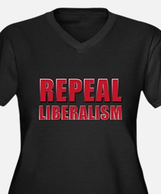 Repeal 5 Red Women's Plus Size V-Neck Dark T-Shirt
