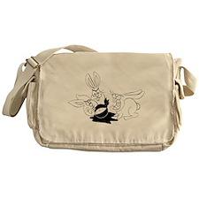 Plot Bunnies eat Plot Ninja (b/w) Messenger Bag
