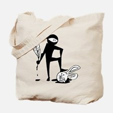 Plot Ninja kills Plot Bunny (b/w) Tote Bag