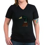Mallard Drake Head Women's V-Neck Dark T-Shirt